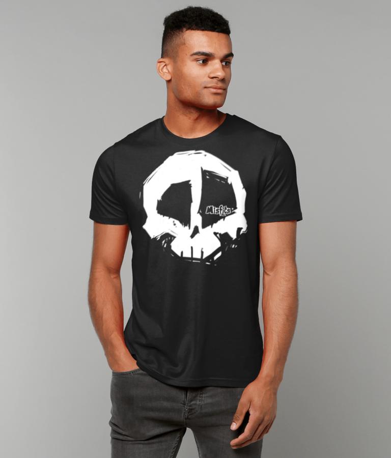 Black Skull Logo T-shirt, Organic Cotton T-shirts, Quality Tees, Misfits inc Tshirt, White Logo Tshirts -