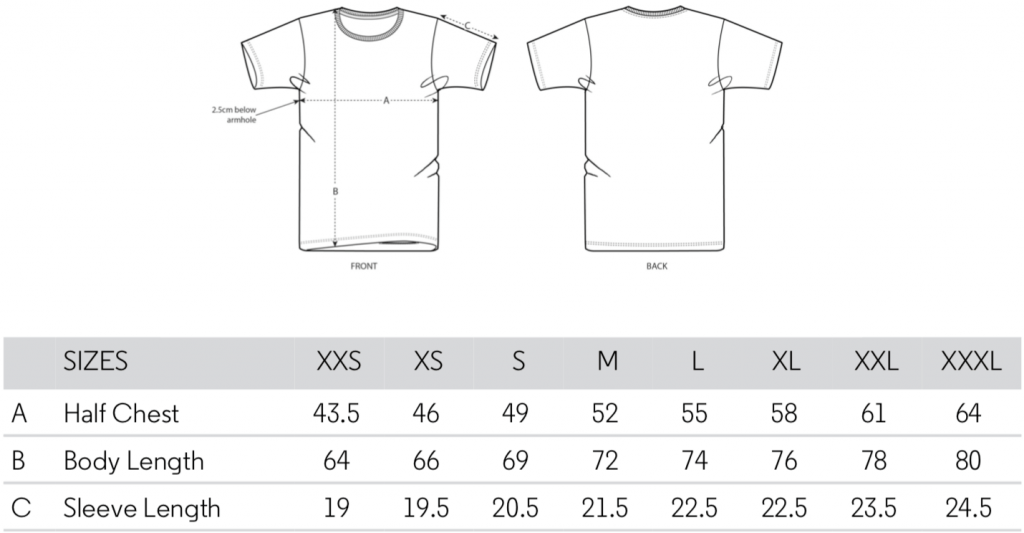 Size Guide T-Shirt