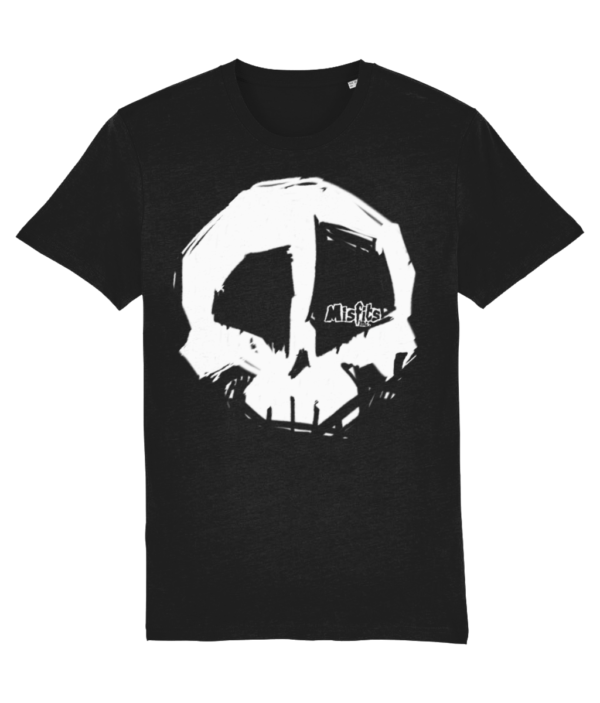 Black Skull T-shirt, Organic Cotton T-shirts, Quality Tees, Misfits inc Tshirt, White Logo Tshirts