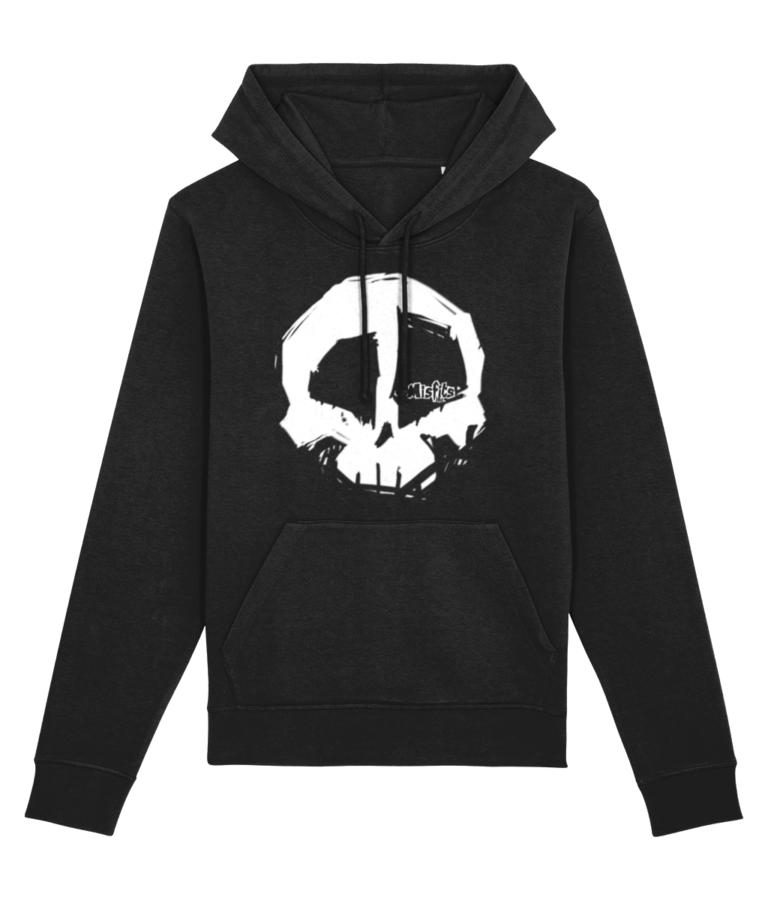 Misfits Inc Black White Skull Hoodie Print Hoodies Skulls Hooded Sweater Organic ECO Sustainable Clothing