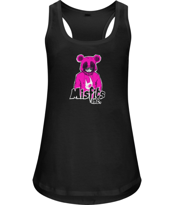 Black Vest - T-Shirt - Organic Cotton - White Vest - Misfits - Misfits Inc Black White Sugar Pop Pink
